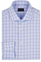 Ermenegildo Zegna Men's Rossini Plaid Cotton Shirt-BLUE