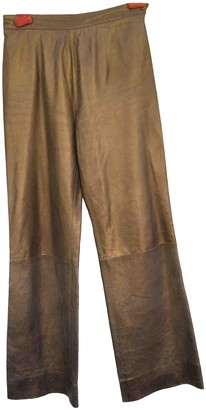 Jean Louis Scherrer Jean-louis Scherrer Gold Leather Trousers for Women