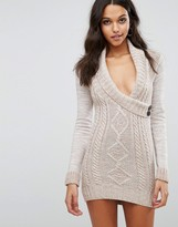 Lipsy Aran Knitted Dress With Wrap Front