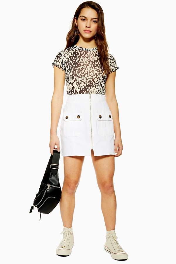 Topshop Womens Petite White Horn Button Denim Mini Skirt - Off White
