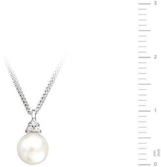 Love Pearl 9ct White Gold Freshwater Pearl Diamond Set Pendant Necklace
