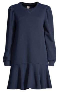 Rebecca Taylor Flounced Drop-Hem Sweatshirt Dress