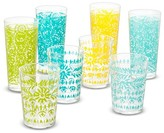 Mudhut Marika Plastic Tumblers Set of 8 Blue/Gold