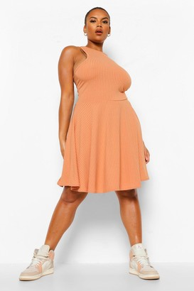 boohoo Plus Jumbo Rib Racer Neck Skater Dress