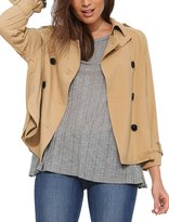 uxcell® Women Double Breasted Button-Tab Epaulets Trench Jacket