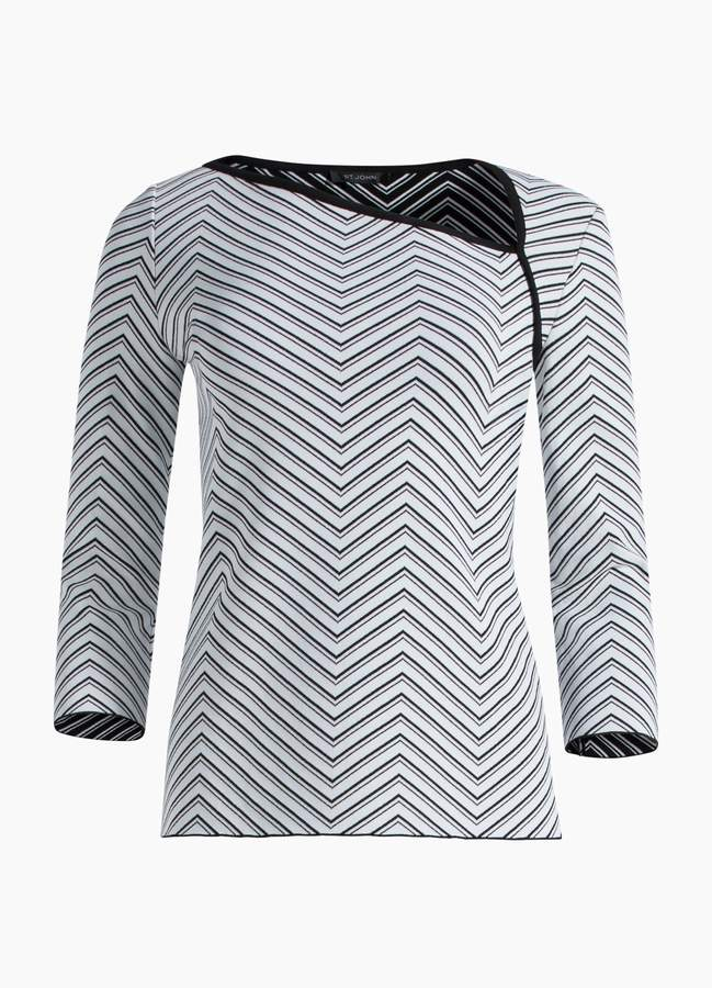St. John Chevron Jacquard Knit Top