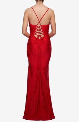 La Femme Tie Back Jersey Sheath Gown