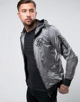 SikSilk Metallic Bomber Jacket In Gray