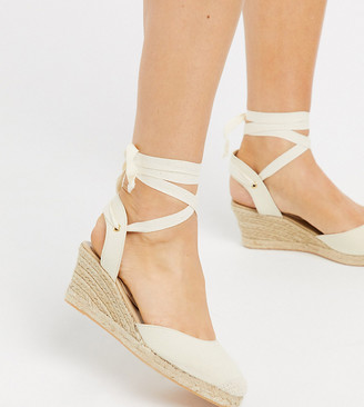London Rebel wide fit heeled tie leg espadrille wedges in natural