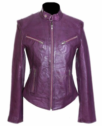 H.E Sienna Purple Ladies Women's Biker Style Retro Designer Real Washed Lambskin Leather Fashion Jacket (Sizes: 8 to 22 Available) (Size: 10)