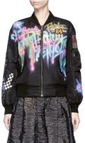 Marc Jacobs Embellished graffiti print shrunken bomber jacket