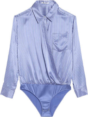 Alexander Wang Wrap-effect Striped Silk-satin Bodysuit