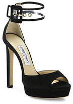 Jimmy Choo Mayner Suede & PVC Ankle-Strap Sandals