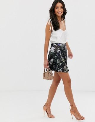 Asos Design DESIGN lace insert pleated mini skirt in dark ditsy floral