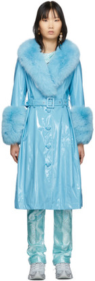 Saks Potts SSENSE Exclusive Blue Shearling Foxy Gloss Coat