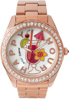 Betsey Johnson Women's Rose Gold-Tone Stainless Steel Bracelet Watch 44mm BJ00249-30