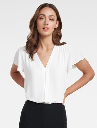 Forever New Elaina Flutter Short Sleeve Top - Porcelain - 10