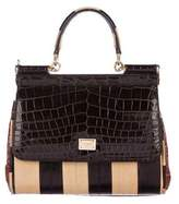 Dolce & Gabbana Crocodile-Trimmed Miss Sicily Bag