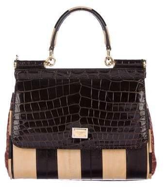Dolce & Gabbana Crocodile-Trimmed Miss Sicily Bag