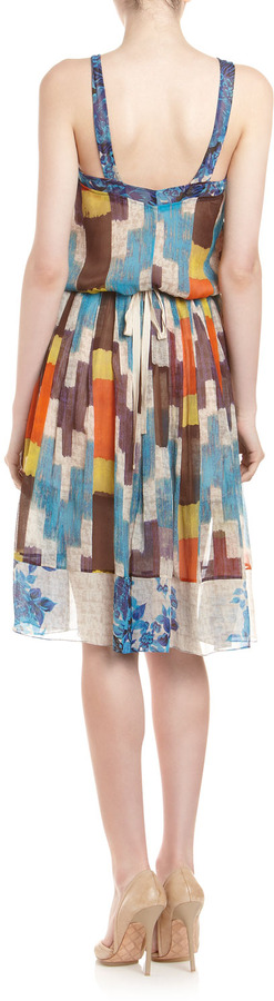 Tracy Reese V-Neck Patterned Dress, Bouquet