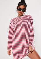 Missguided Red Stripe Long Sleeve Oversized T Shirt Dress
