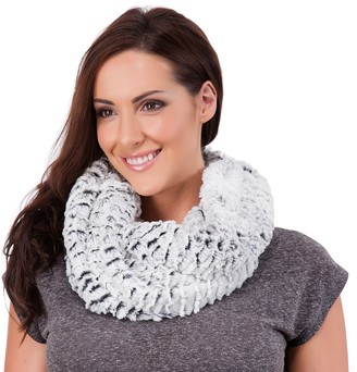 Rjm Ladies Silver White & Black Soft Faux Fur Snood