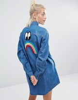 Lazy Oaf Longline Denim Shirt With Sad Rainbow And Multi Colored Buttons
