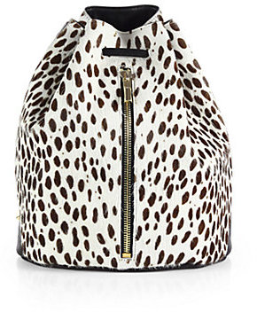 Elizabeth and James Abstract Animal-Print Calf Hair Sling Backpack