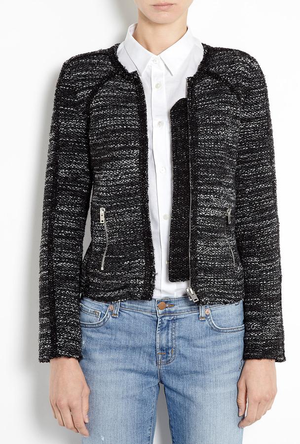 IRO Black Tweed Jacket With Zip Pockets