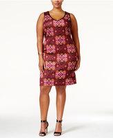 Love Squared Trendy Plus Size Tile-Print Bodycon Dress