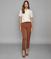 Reiss Joanne - Cropped Tailored Trousers in Rust