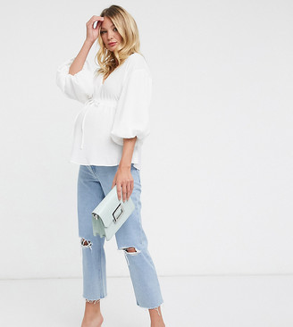 ASOS DESIGN Maternity kimono top with draw string waist in ivory