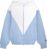 adidas by Stella McCartney Studio Hooded Two-tone Modal-jersey Jacket - Sky blue