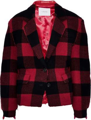 Pushbutton Checked Wool-blend And Faux Leather Jacket