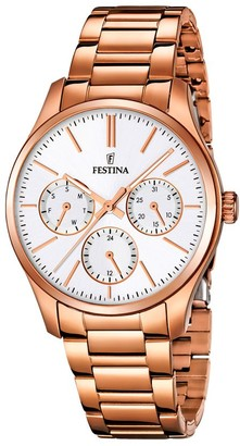 Festina-F16816/1 Women's Quartz Analogue Watch-Stainless Steel Strap Golden and Pink