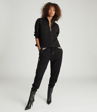 Reiss Etta - Zip Neck Loungewear Sweatshirt in Black