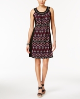 NY Collection Petite Printed Colorblocked Fit & Flare Dress
