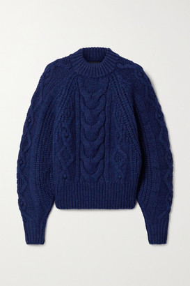 Isabel Marant Flover Cable-knit Wool-blend Sweater - Royal blue