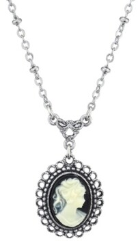 Downton Abbey Oval Cameo Drop Necklace