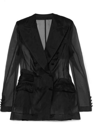 Dolce & Gabbana Double-breasted Silk-organza Blazer - Black