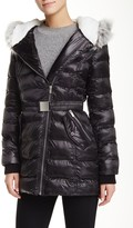 Rachel Roy Fleece Lined Faux Fur Trim Hooded Puffer Jacket