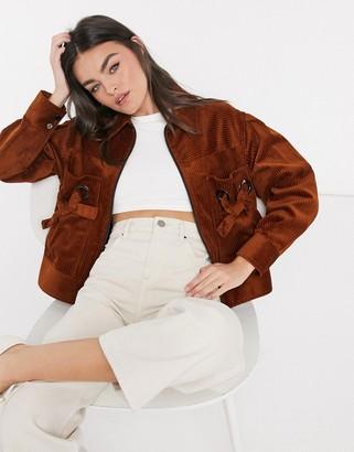 Palones jumbo cord zip front jacket in brown