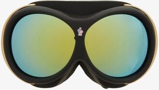 Moncler Logo-jacquard Strap Ski Goggles - Black Gold
