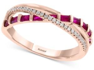 Effy Certified Ruby (1/2 ct. t.w.) & Diamond (1/10 ct. t.w.) Crisscross Ring in 14k Rose Gold