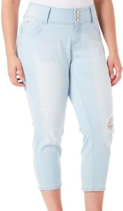 YMI Jeanswear Women's Plus Size Juniors Wannabettabutt Triple Button Wide Waist Flood