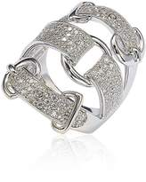 Suzy Levian Sterling Silver Cubic Zirconia White Buckle Ring