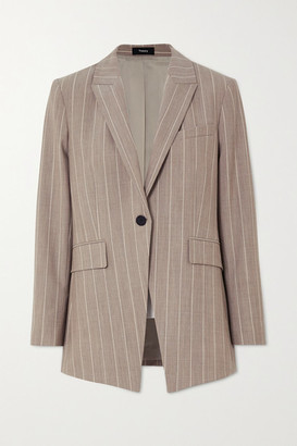 Theory Pinstriped Wool-blend Blazer - Beige