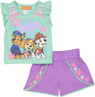 Children's Apparel Network Girls' Casual Shorts GREEN - PAW Patrol 'Best Pup Pals' Green Tee & Shorts - Toddler