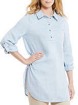 Preston & York Lizzie Button Down Collar Roll-Tab Sleeve Linen Blouse