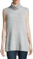 Elliatt Sleeveless Ribbed Knit Turtleneck Sweater, Gray